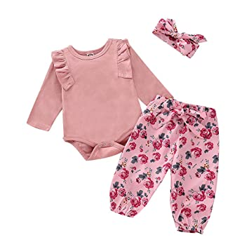 Baby Clothing Newborn Baby Girl Vintage Cotton Floral Flutter Sleeve Jumpsuit 0-3 Years