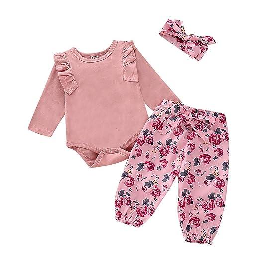 2b341397c02 3 Piece Newborn Infant Kid Baby Girl Floral Clothes Jumpsuit Romper Bodysuit  Tops Pants Headbands Outfit