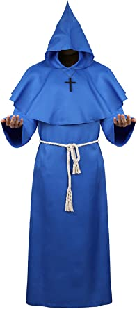 Black and  Blue Cape Hooded Cloak Wizard Robes Renaissance New STOCK