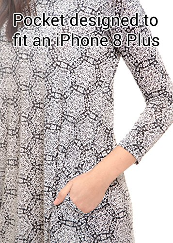 086 Pockets MODADEL Sleeve 44 for with Dress Woman Colors Long Casual Black Grey wAvxqXAR