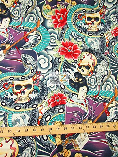 ALEXANDER HENRY COTTON FABRIC - ZEN CHARMER ORIENTAL CURSE - BY YARD DECOR CLOTHING LICENSED GEISHA