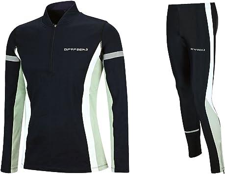 Airtracks Juego de mallas y camiseta térmica/Hombre o Mujer/Pantalón Largo + camiseta térmica de manga larga/transpirable/reflectores: Amazon.es: Deportes y aire libre