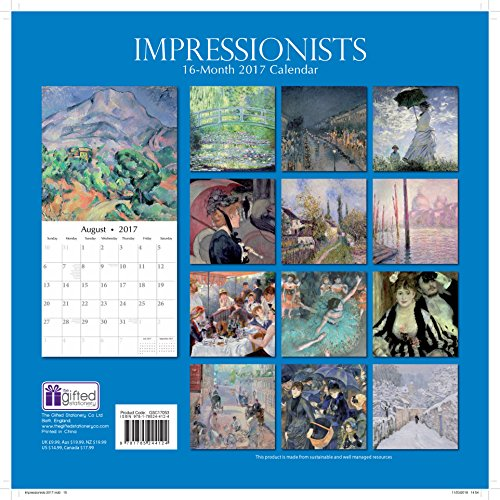 Calendar Artistic : Famous impressionists artistic paintings monthly wall