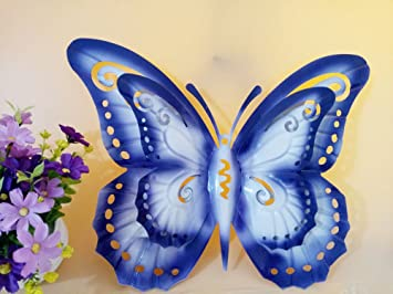 Amazon Com Metal Bilayer Butterfly Fence Hanger Wall Art Yard