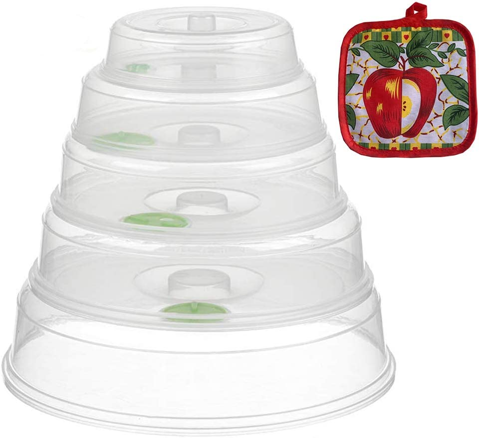 Microwave Plate Covers with Adjustable Steam Vents, Set of 5 Microwave Lid Prevent Splatter Cover,Mixed Sizes for Food Plates Bowls with Heat Insulated Pad