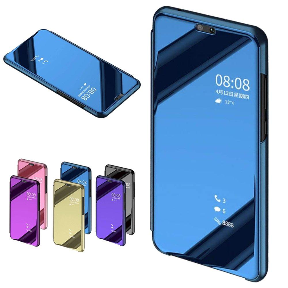 Nadoli fü r Huawei P20 Spiegel Hü lle, Mirror Effect PU Leder Hü lle Transparent Case Cover Handytasche Book PC Hart Flip Standfunktion fü r fü r Huawei P20, Blau