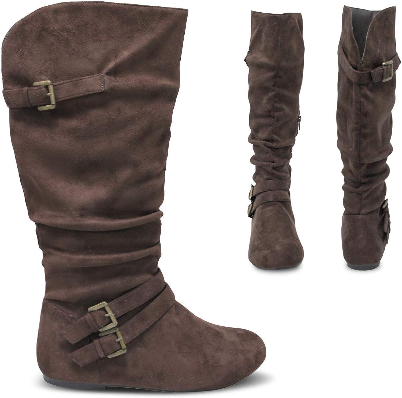 Womens Ladies Flat Low Block Heel Zip Smart Work Ruched Riding Calf Boots Size