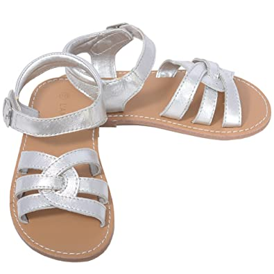 d6a4fa0fb L Amour Silver Woven Strap Summer Sandals Little Girls 1