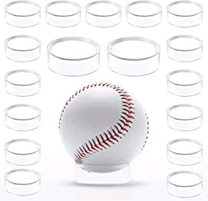 Clear Acrylic Baseball Round Display Stand Ring Holder Beveled Pedestal for Tennis Ball Softball Golf Ball Spheres Marbles Stone Egg Stand 20Pcs Decor W4396