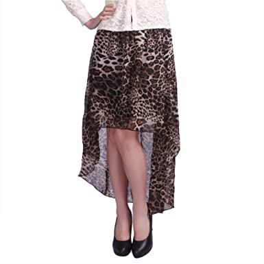 e938577b298 HDE Trendy Double Layer High Low Skirt - Leopard