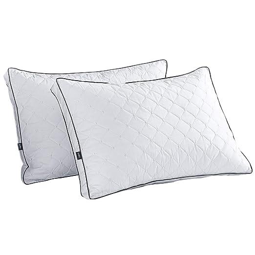Umi. Essentials Blanco Ganso Almohadas de Pluma con Tejido 100% Algodón, 48 X 74 cm X 5cm Bordado Dot Cojin Plumas, Pack de 2