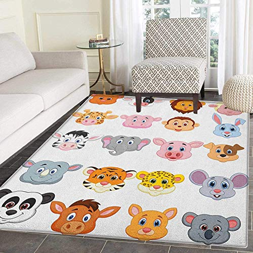 Cartoon Non Slip Rugs Kids Themed Baby Cute Animals Lions Pigs Cows Farm Safari Baby Nursery Room Image Door Mats for Inside Non Slip Backing 5'x6' ()