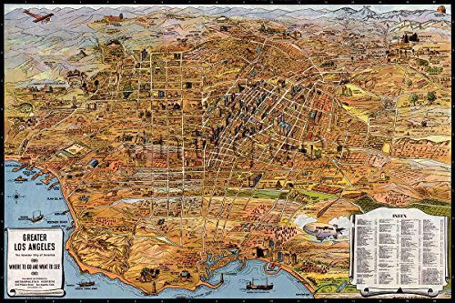 MAP of Greater Los Angeles : the Wonder City of America circa 1932 - measures 24