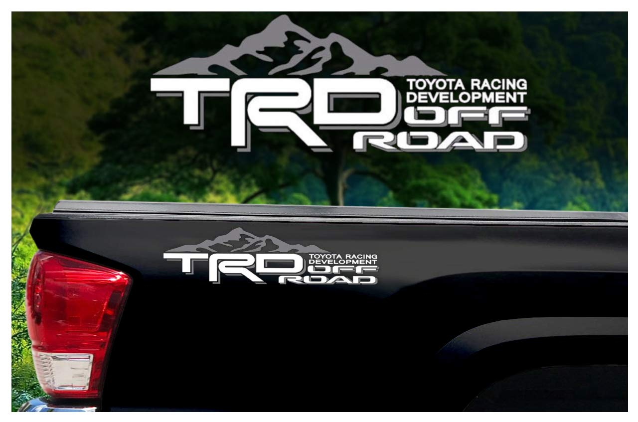 Noa Store Toyota TRD Truck Mountain Off-Road 4x4 Racing Tacoma Decal Vinyl Sticker PAIR of 2 (WHITE/GREY)