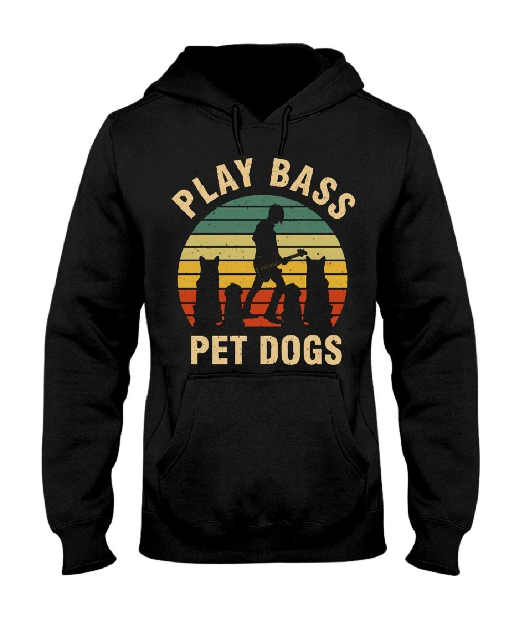 Vintage Play Bass Pet Dogs Hoodie for Women Men Funny Letter Print Tees Black by CrazyMonkeyShirt