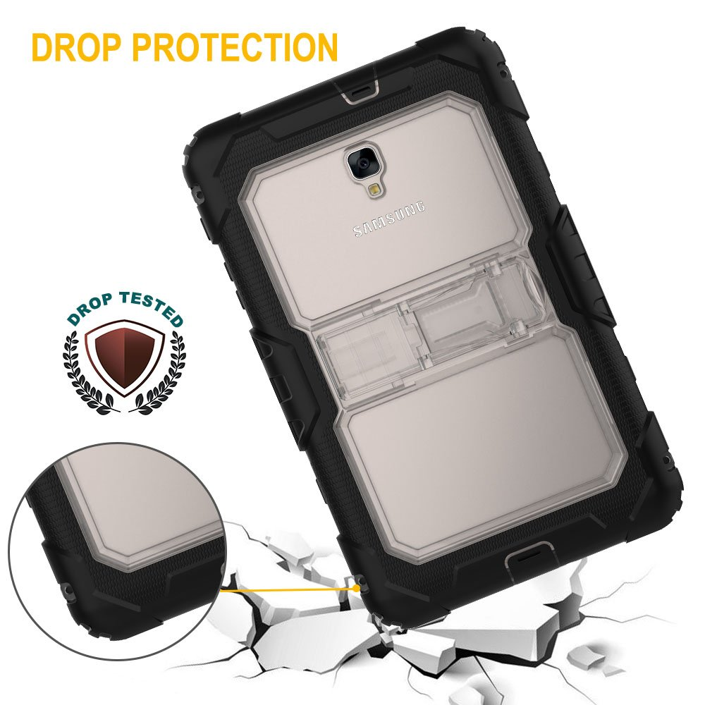 Samsung Galaxy Tab A 8.0'' 2017 Case (SM-T380, T385 Series) Tough Rugged [Heavy Duty] Armour Shock Proof Protective Case with Shoulder Strap & Built-in Stand - Kids&School Friendly Case [Black+Clear]