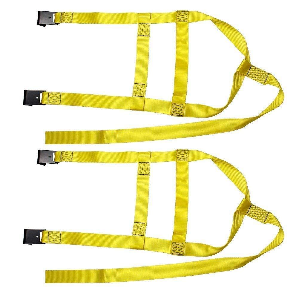 Yellow 2X Car Basket Straps Adjustable Tow Dolly DEMCO Wheel Net Set Flat Hook Fits 17-21 Standard Wheels