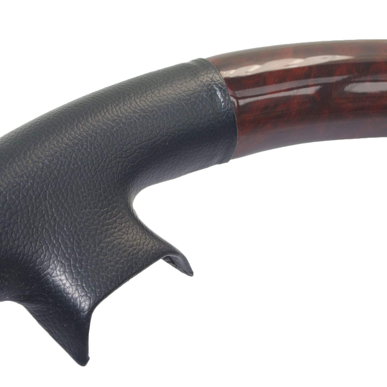 Piel de color negro marrón madera volante pantalla Cover: Amazon.es: Coche y moto