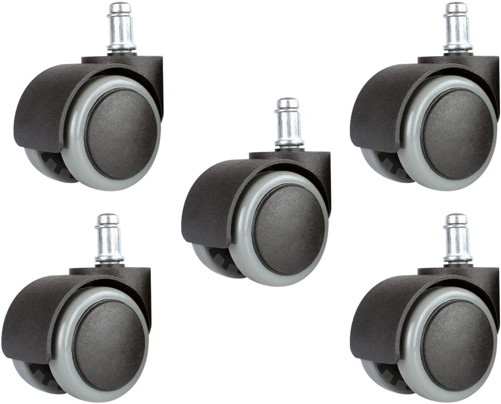 Floor Protecting PU Plastic Office Chair Caster Wheels Standard Stem Size Black//Gray Copapa 5PCS 2 Inch 11mm Universal Standard Size Roller Office Chair Replacement Wheels