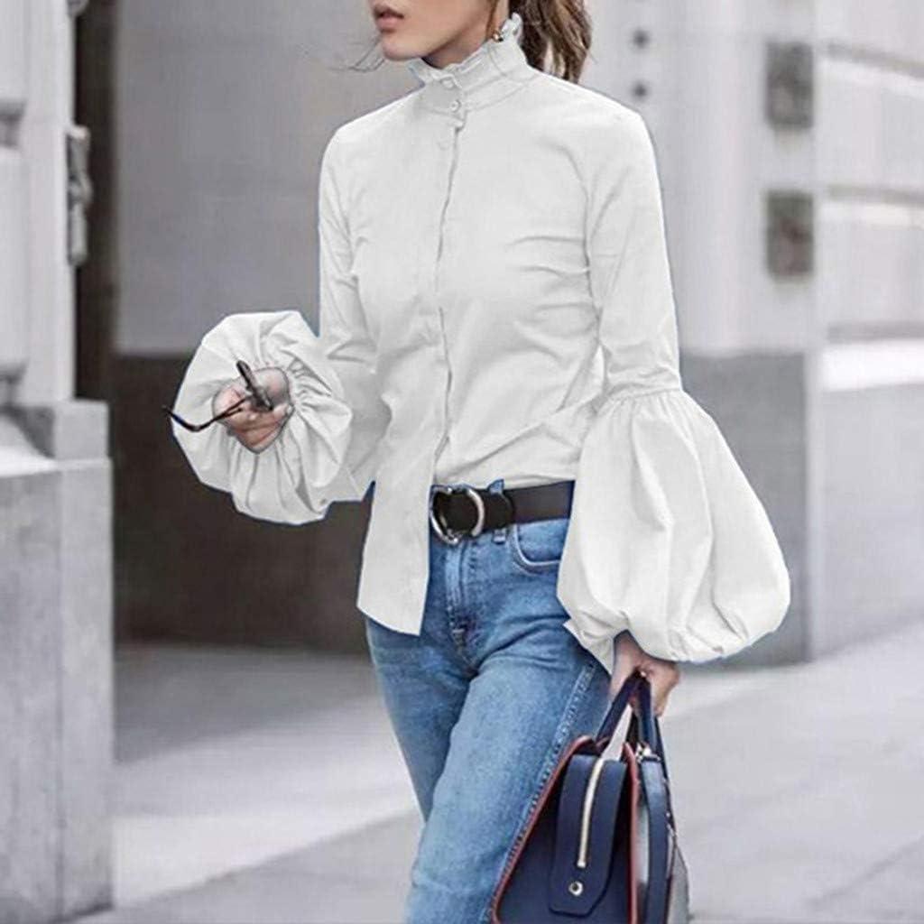 Camisa de manga larga de mujer Minxinwy, camisa ajustada de manga larga con cuello alto, farol casual, de moda, con botones de color liso, de mujer, manga suelta: Amazon.es: Iluminación