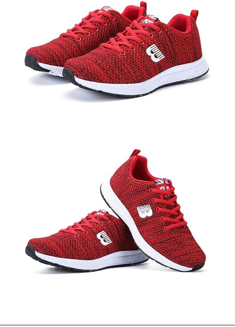 Chaussure de Sport Basse Plate pour Femme en Textile Respirant en Printemps Été Chaussure a Lacets en Casual Tendance Confort Rouge