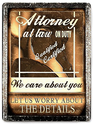 Lawyer Attorney Metal Sign / Office Vintage Style Wall Office Decor 355