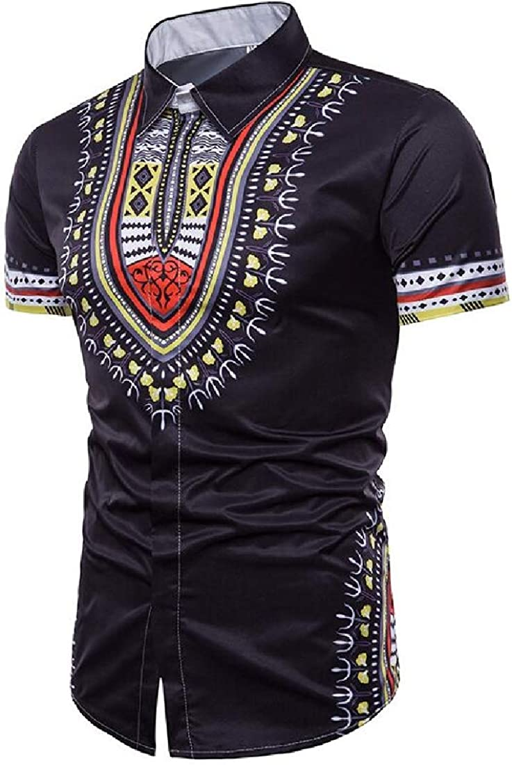 Wofupowga Men Folk Style Button Up Casual Short Sleeve African Print Shirts
