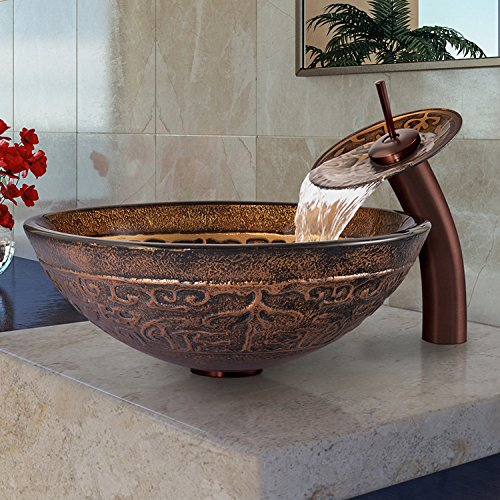 Raised Vessel Faucet - VIGO Golden Greek Glass Vessel Bathroom Sink and Waterfall Faucet with Pop Up, Oil Rubbed Bronze