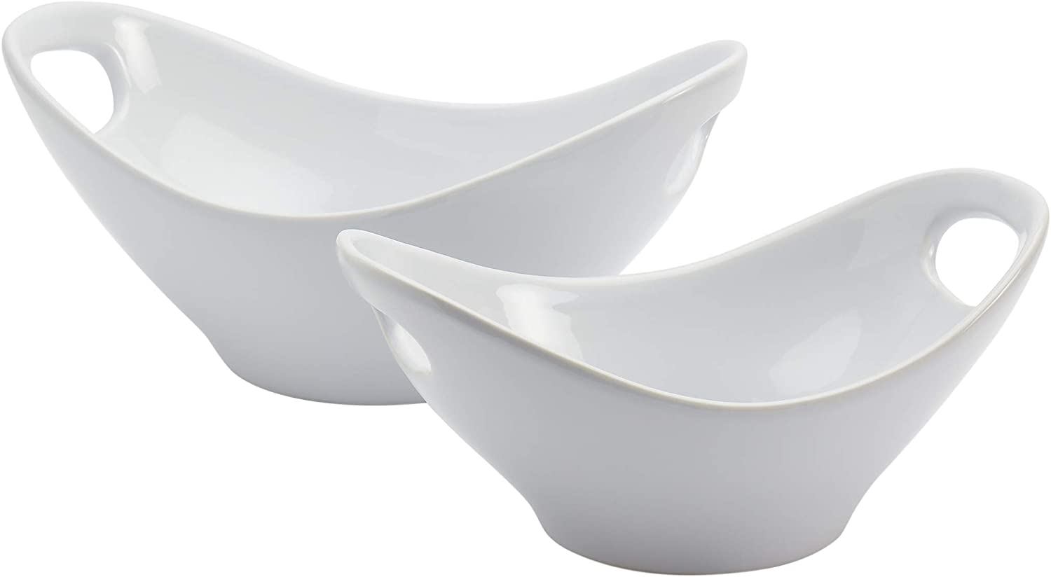 Tabletops Gallery White Durable Stoneware Serving Dishes Platter and Sets with Handles, Deep Oval Serving Bowl Set of 2