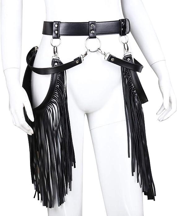 61%2BkwtEpi6L._AC_UY700_ amazon com mychic women's pu leather punk harness waist belt with