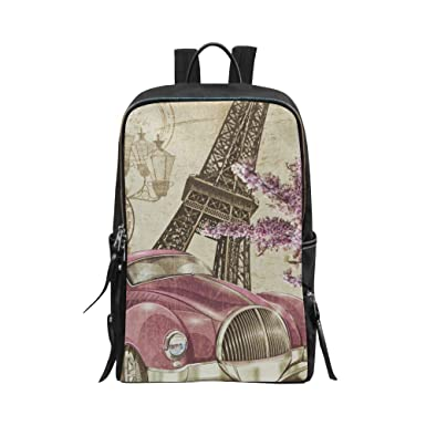 59071d1756 InterestPrint Unisex School Bag Casual Backpack Paris Vintage Poster Eiffel  Tower Retro Car and Flowers Travel