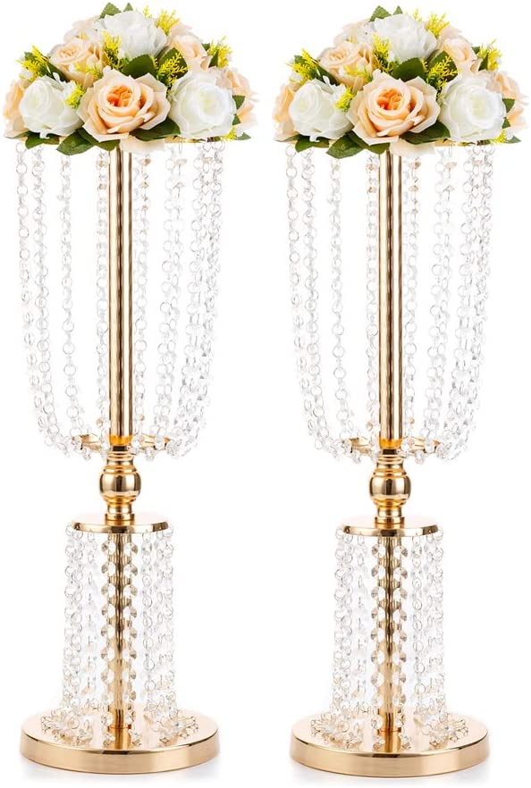 """2 pcs 29/"""" tall Metallic Trumpet Vases Candle Holders Wedding Centerpieces SALE"""