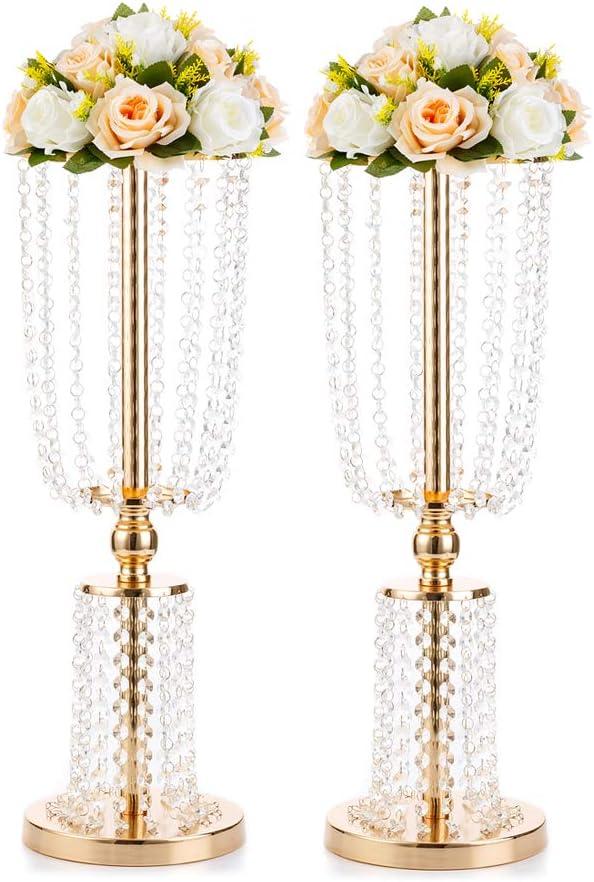 60cm Gold Trumpet Flower Stand Pedestal Centrepiece Wedding Decor UK STOCK