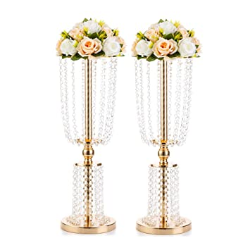 Pleasing 2 Pcs 23 75 Inches Gold Vases For Centerpieces Tall Crystal Metal Vase Flower Stand Holders Wedding Centerpiece Chandelier For Reception Tables Home Interior And Landscaping Ologienasavecom