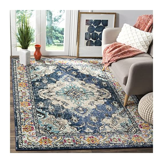 Safavieh Monaco Collection MNC243N Vintage Bohemian Navy and Light Blue Distressed Area Rug (3' x 5') - Safavieh's Monaco Vintage Boho Medallion rug with 350+ customer reviews Vintage distressed design with a stunning oversized medallion adds a fashion-forward flair to décor Stylishly versatile, this rug works in the bedroom, living room, playroom, foyer, or dining room - living-room-soft-furnishings, living-room, area-rugs - 61%2BkwyWl%2B1L. SS570  -