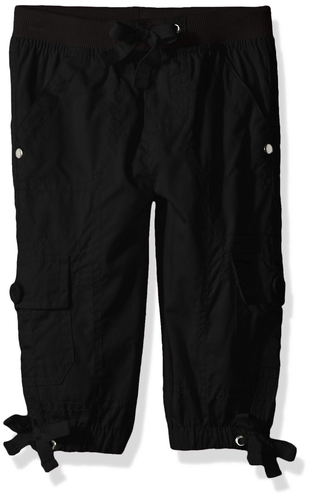 Limited Too Toddler Girls' Fleece Pant, Pull/on Rib Waist Cargo Capri Black, 2T