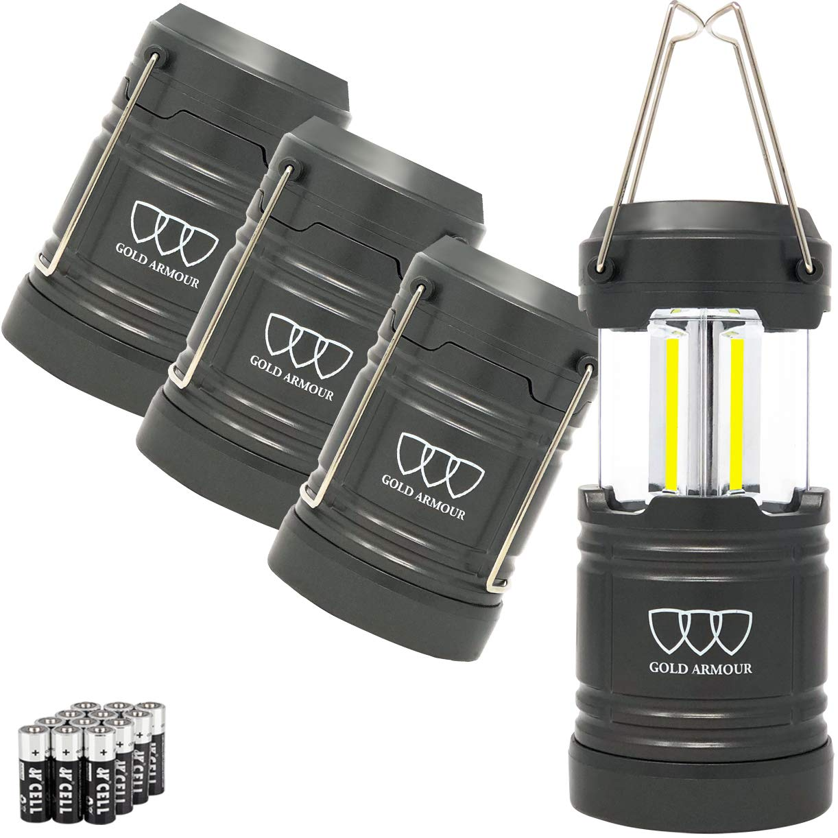 Gold Armour 4 Pack Portable Led Camping Lantern – Survival Kit Gear for Emergency, Hurricane, Power Outage, Camping with 12 aa Batteries