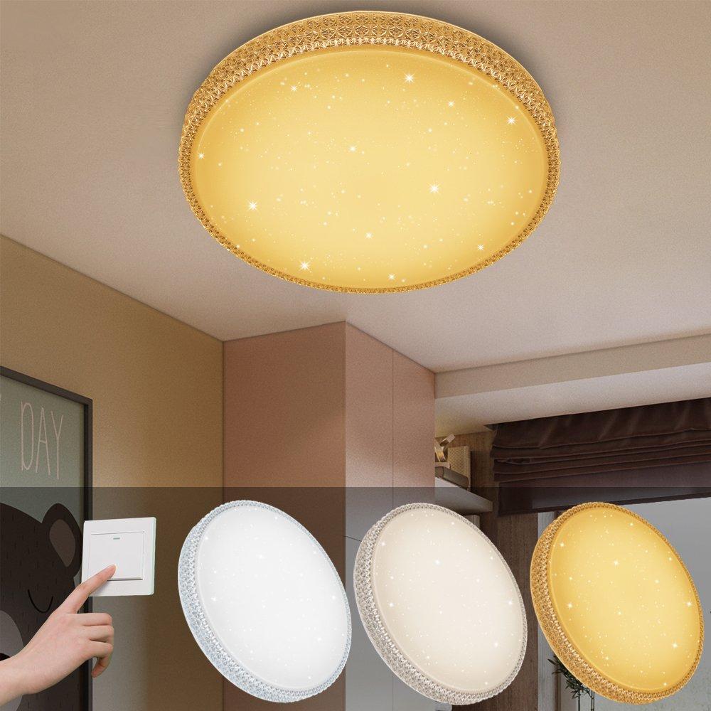 Warmwei/ß modern Wohnzimmer leicht 12w Blanc Froid Round Starlight-Effekt Vingo/® LED-Deckenleuchte Badezimmer