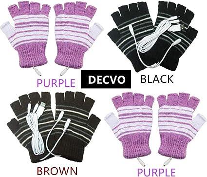 Black USB Powered Stripes Pattern Knitting Wool Heating Heated Gloves Fingerless Hand Warmer Mittens Laptop Computer Gloves