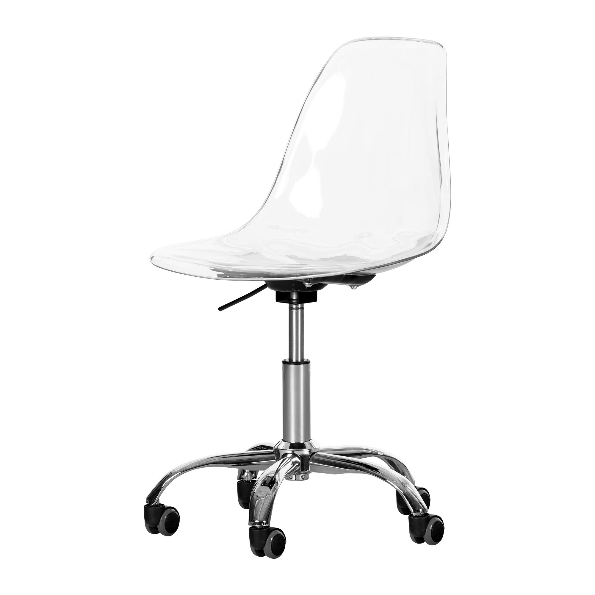 South Shore 12519 Axess Acrylic Office Chair with Wheels-Clear
