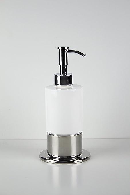 Inox encimera dispensador de jabón, cromo pulido, montaje en cuadro de latón, accesorios