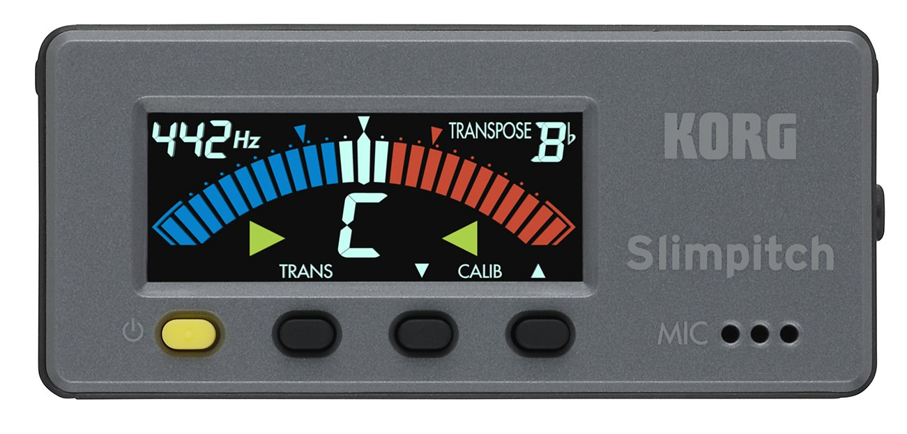 Korg Slimpitch Chromatic Tuner with Contact Microphone, 12-Note Equal Temperament