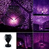 Autoday LED Lights Constellation Celestial Star Galaxy Sky Pattern Projection Projector Outdoor Indoor Yellow Purple Blue Lights for Club Pub Birthday Party Wedding (Ship From US) (Purple)