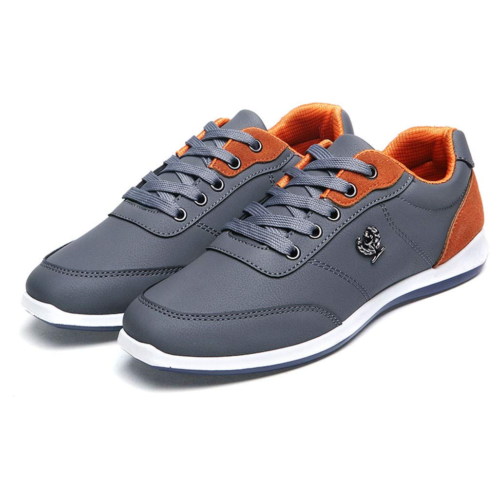 Lloopyting Mens Pu Solid Color Causal Shoes Light Comfort for Walking Gym Lightweight Fashion Sneakers Lace-Up Flat Shoes Gray by Lloopyting (Image #6)