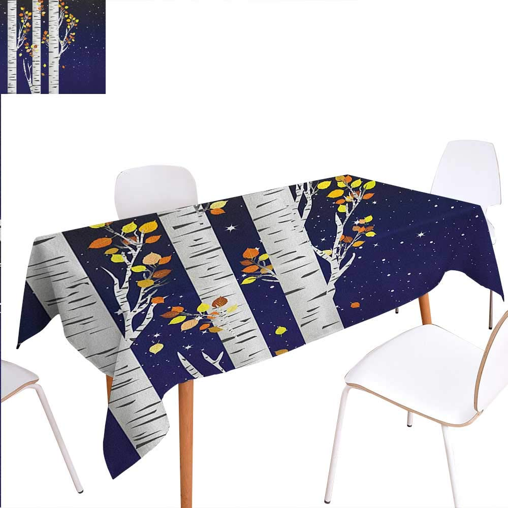 """Warm Family Autumn Dinning Tabletop Decoration Birch Trees with Colorful Fall Season Foliage Leaves on a Starry Night Sky Backdrop Table Cover for Kitchen 60""""x84"""" Multicolor"""