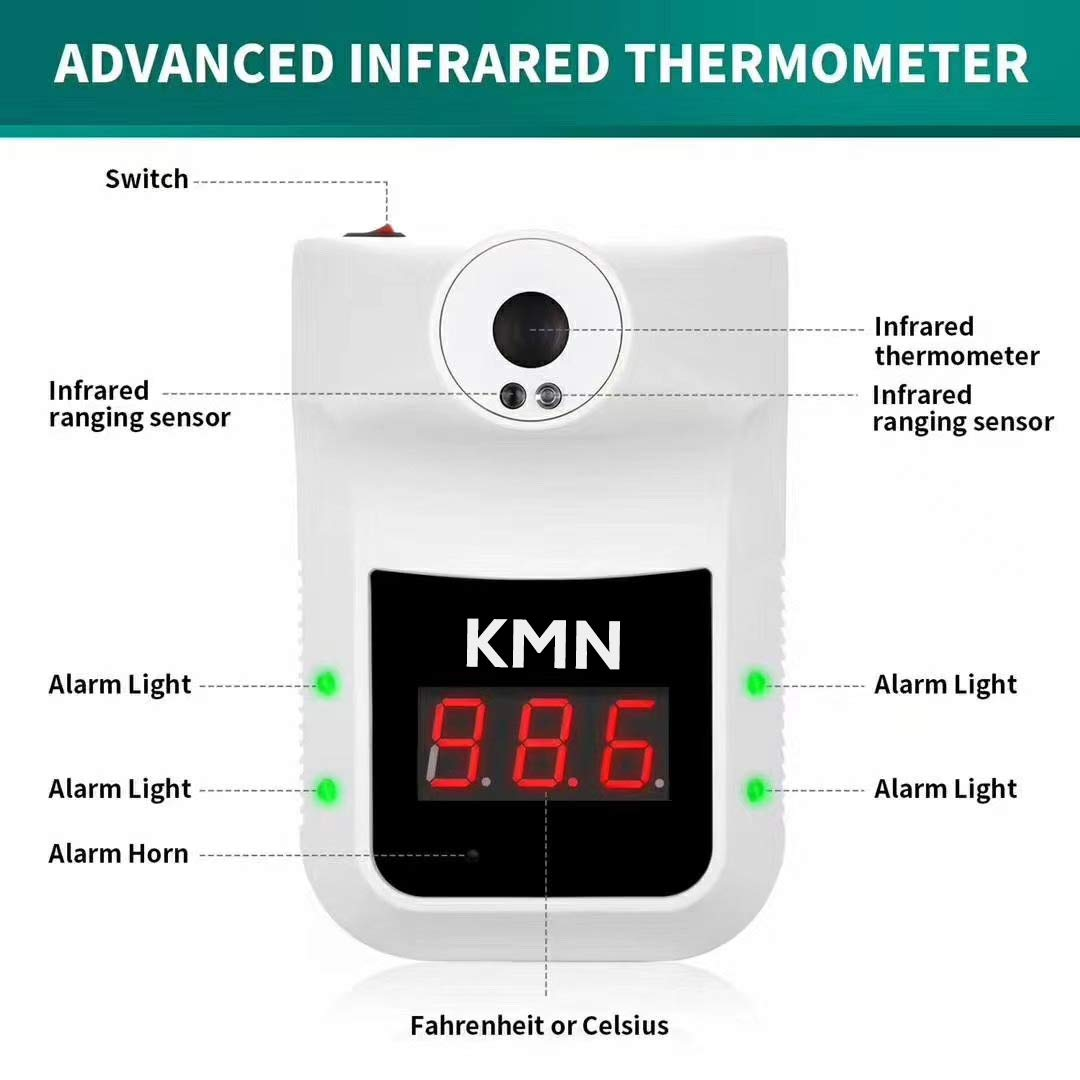 Wall-Mounted Infrared Forehead Thermometer Shops Fever Alarms in Factories Restaurants Schools and Offices Railway Station entrances Non-Contact Induction Digital Thermometer with LCD Display