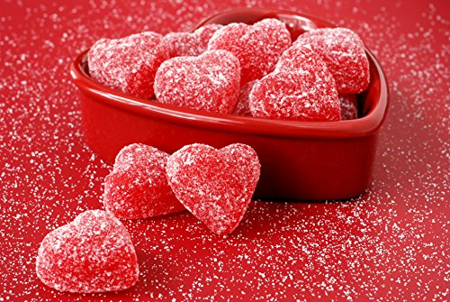 Foil Lined Heart - Valentine's Day Greeting Cards - Sweet Hearts - SH100. Business Greeting Card with an Image of Gumdrop Hearts in a Heart Dish. Box Set Has 25 Greeting Cards and 26 White with Red Foil Lined Envelopes.