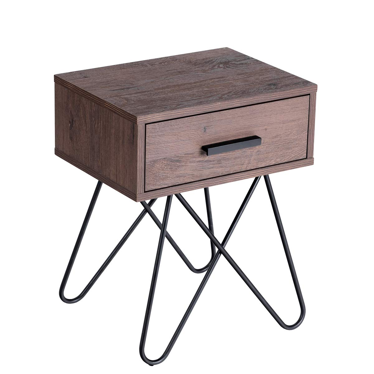 Giantex Nightstand W/Steel Pipe and Handled Drawer Mid-Century Accent Table Solid and Stable Frame for Living Room Bedroom Beside Sofa Side End Table (1, Brown) by Giantex