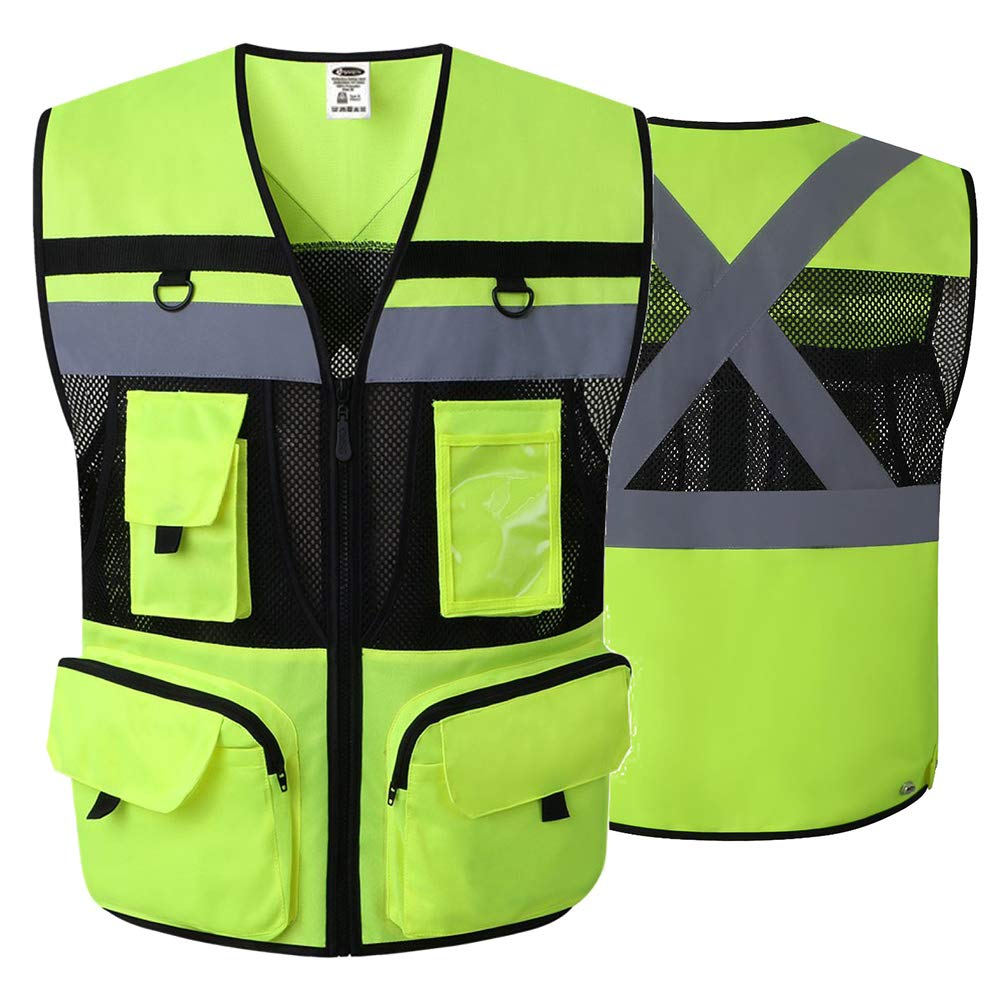 JKSafety 10 Pockets Class 2 High Visible Reflective Safety Vest Zipper Front Large Back Pockets Breathable and Mesh Lining (X-Large, Yellow Black) by JKSafety (Image #3)