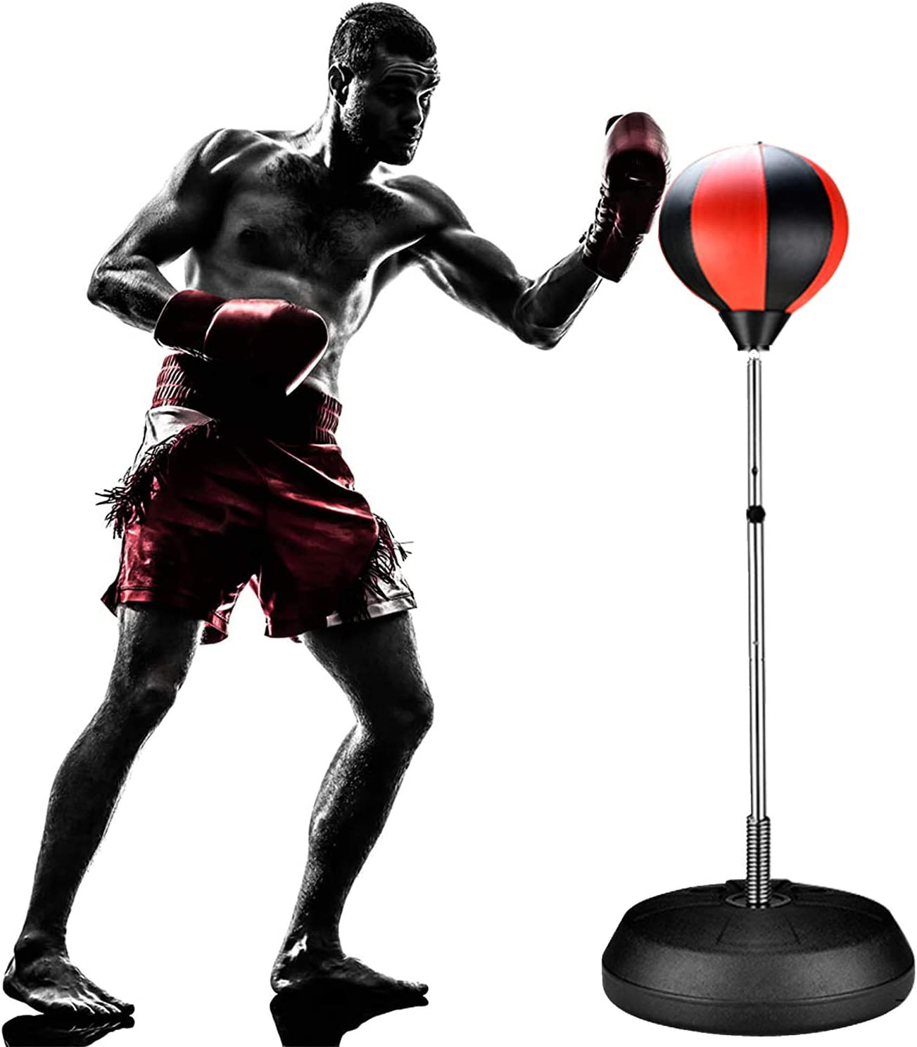 ifidex Jackgold Punching Bag Reflex Boxing Bag with Stand, Height Adjustable - Freestanding Punching Ball Speed Bag - Great for MMA Training, Stress Relief & Fitness